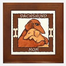 Dachshund Mom Hug Framed Tile