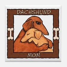 Dachshund Mom Hug Tile Coaster