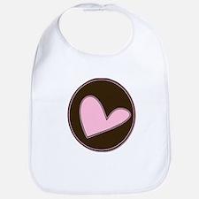 Pink Heart in Chocolate Brown Bib