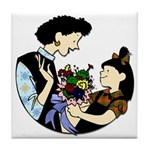 Daughter Giving Mom Flowers Tile Coaster