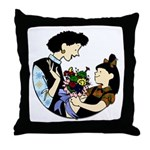 Daughter Giving Mom Flowers Throw Pillow