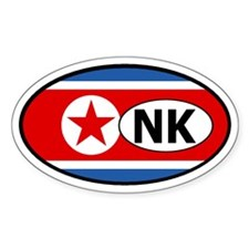 North Korea flag Oval Decal