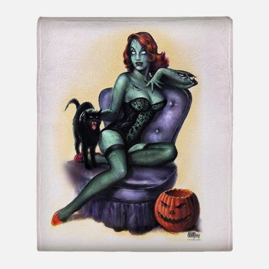 Halloween Zombie Girl Pin Up Throw Blanket