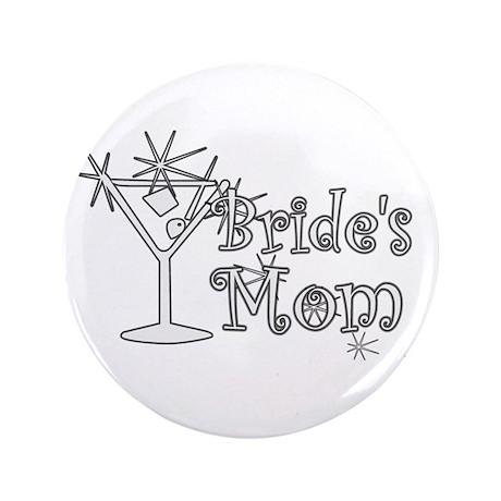 """White C Martini Bride's Mom 3.5"""" Button"""