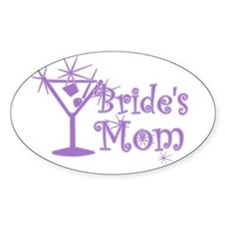 Purple C Martini Bride's Mom Oval Decal