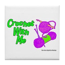 Crochet With Me Tile Coaster