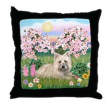 Blossoms/Cairn Terrier Throw Pillow