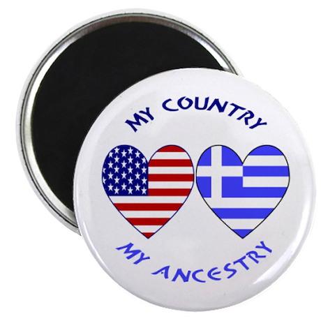 Greek/USA Heart Flag Magnet