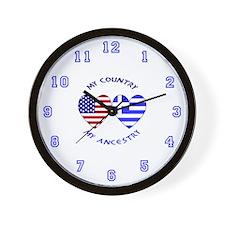 Greek/USA Flag Hearts 2 Wall Clock
