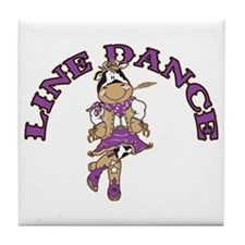 Line Dance Cowgirl Tile Coaster