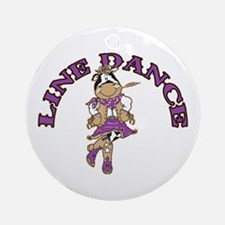 Line Dance Cowgirl Ornament (Round)