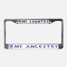 Greek/USA Flag Hearts License Plate Frame