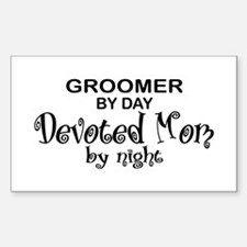 Groomer Devoted Mom Rectangle Decal