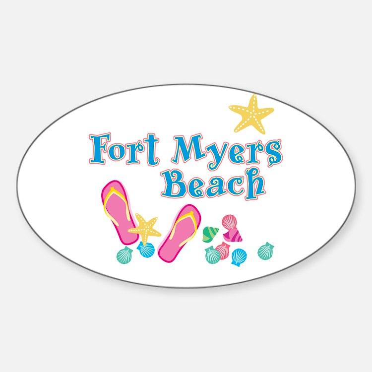 Ft. Myers Beach Flip Flops - Oval Decal