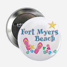 """Ft. Myers Beach Flip Flops - 2.25"""" Button"""