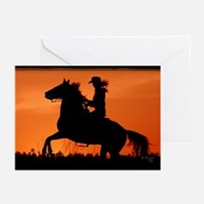 Rearing Sunset Greeting Cards (Pk of 10)
