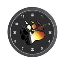 BEAR PRIDE BEAR PAW ON BLACK 2 Wall Clock