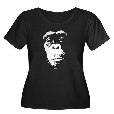 Chimp 2 Women's Plus Size Scoop Neck Dark T-Shirt