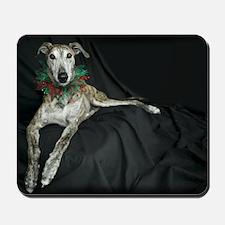 Brindle Christmas Jester Grey Mousepad