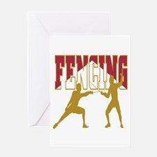 Fencing Logo (Red & Gold) Greeting Card