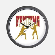 Fencing Logo (Red & Gold) Wall Clock