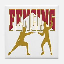 Fencing Logo (Red & Gold) Tile Coaster