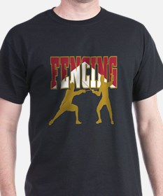 Fencing Logo (Red & Gold) T-Shirt
