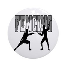 Fencing Logo (Black & Grey) Ornament (Round)