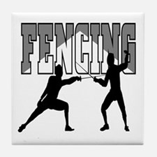 Fencing Logo (Black & Grey) Tile Coaster