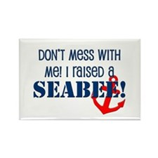 Raised a Seabee Rectangle Magnet