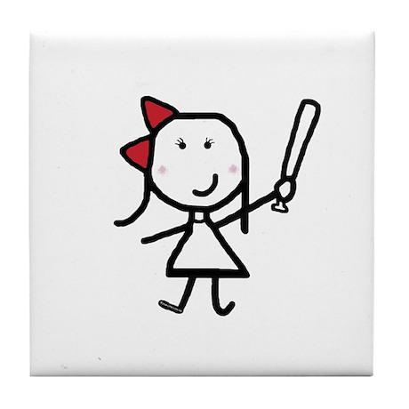 Girl & Baseball Tile Coaster