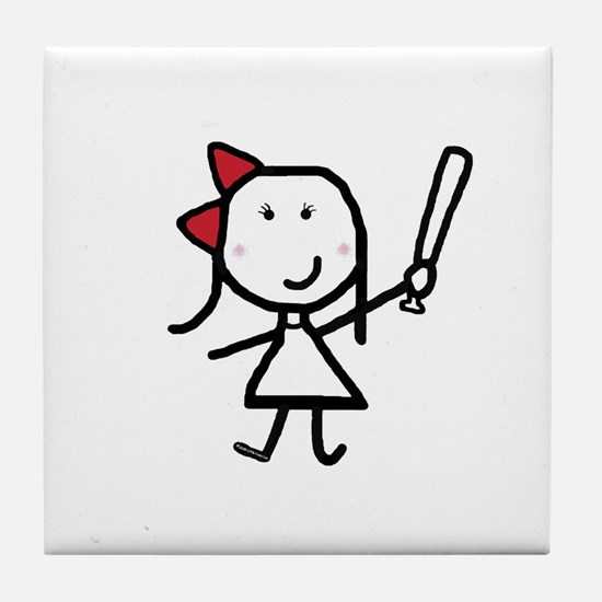 Girl & Baseball Tile Coaster