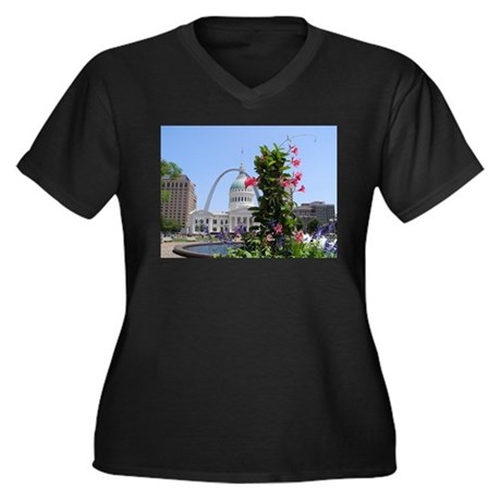 St. Louis! Women's Plus Size V-Neck Dark T-Shirt
