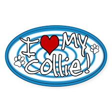 Hypno I Love My Collie Oval Sticker Blue