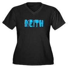 Keith Faded (Blue) Women's Plus Size V-Neck Dark T