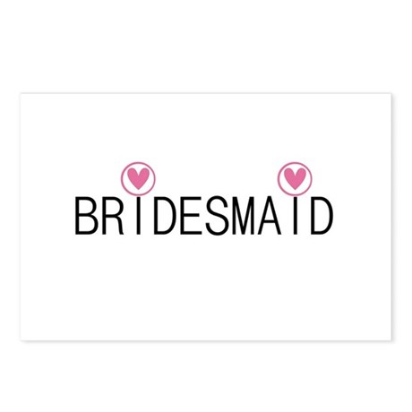 Hearts Bridesmaid Postcards (Package of 8)