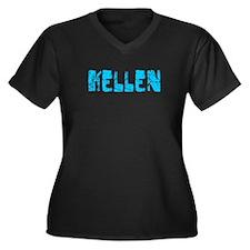 Kellen Faded (Blue) Women's Plus Size V-Neck Dark