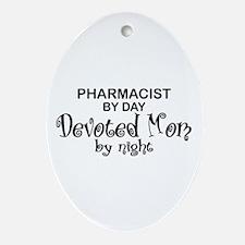 Pharmacist Devoted Mom Oval Ornament