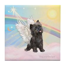 Angel / Cairn Terrier (brin) Tile Coaster