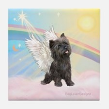 Angel / Cairn Terrier (brin) Tile Coaster