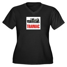 TRAINIAC Women's Plus Size V-Neck Dark T-Shirt