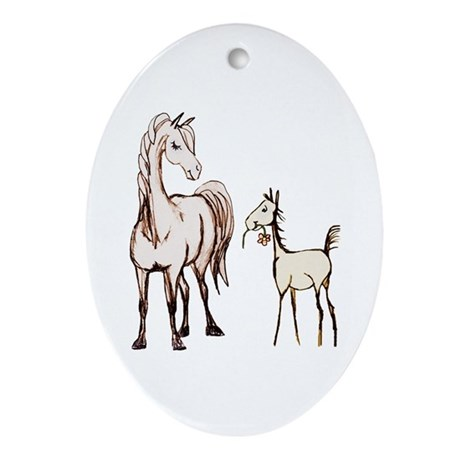 Mare and Foal Horse Oval Ornament