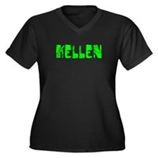 Kellen Faded (Green) Women's Plus Size V-Neck Dark