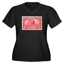 Unique Stamp collecting Women's Plus Size V-Neck Dark T-Shirt