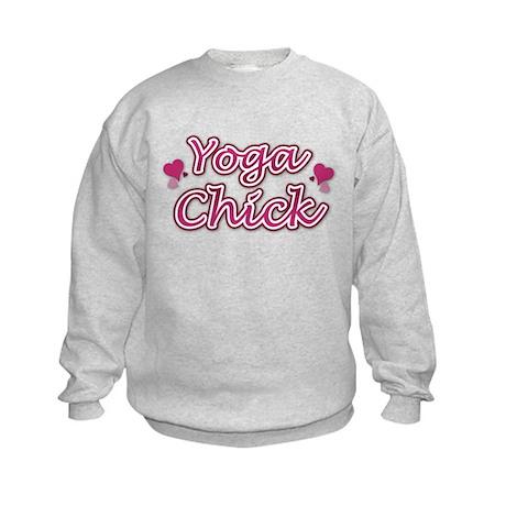 Pink Yoga Chick Hearts Kids Sweatshirt