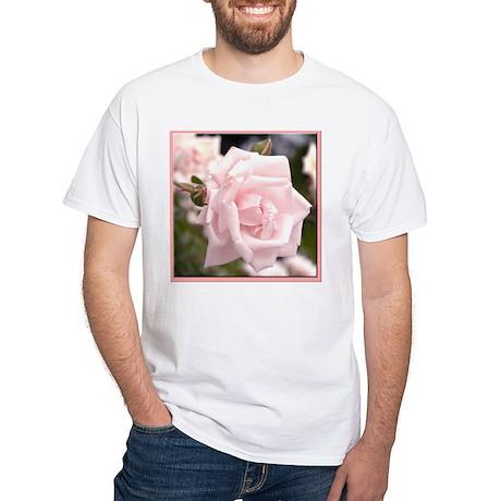 Pink Rose White T-Shirt