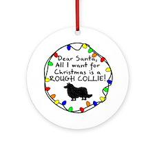 Dear Santa Rough Collie Christmas Ornament