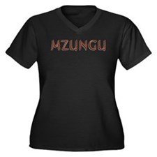 Mzungu - Women's Plus Size V-Neck Dark T-Shirt