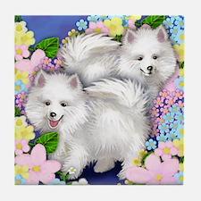 AMERICAN ESKIMO DOGS GARDEN Tile Coaster