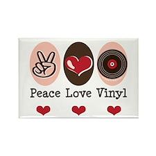 Peace Love Vinyl Record Rectangle Magnet